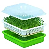 USDREAM Seed Sprouter Tray BPA Free PP Soilless Bean Sprout Grower Seedlings Germination Tray Sprouting Kit Garden Home Use - Fit Wheatgrass Soybean Mung Hydroponics Nursery Planting Lid