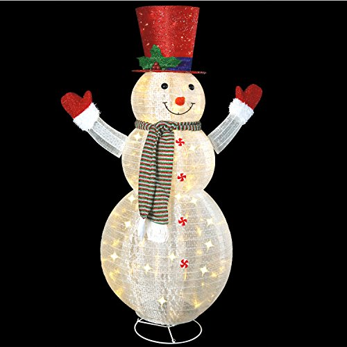60'' LED Popup Snowman Outdoor Collapsible Lighted Snowman Christmas Yard Decorations with 120 Lights by Jingle light (Image #2)