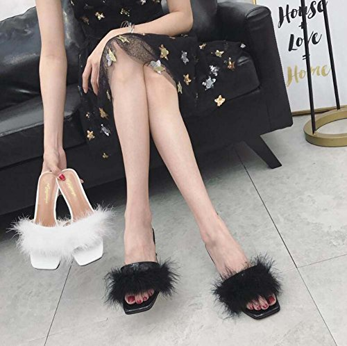 vestir Mules Cool 34 Kitten Open Women Negro Color Heel 40 zapatos Toe Beach Eu Tamaño Sandals Court Solid Slippers Shoes OL Shoes de Pump 5cm Plush Sweet qOvndq