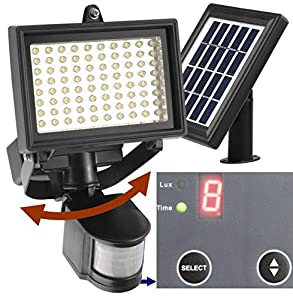 10. Robust Solar 80 LED Outdoor Solar Motion Light, Digitally Adjustable Time & LUX, 2-axis Adjustable Motion Sensor with Lithium Battery