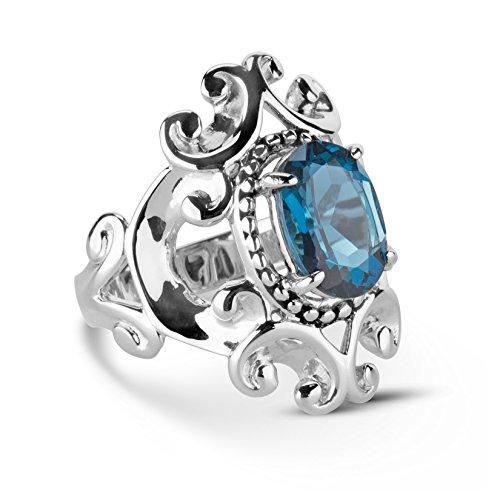 Topaz Filigree Ring - Carolyn Pollack Sterling Silver Blue Topaz Birthstone Gem Filigree Scroll Ring Size 06