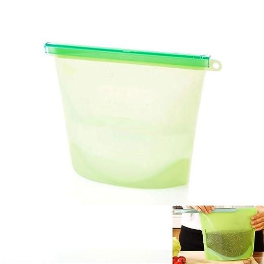 1pc silicona fresca bolsa 1L reutilizable silicona vacío ...