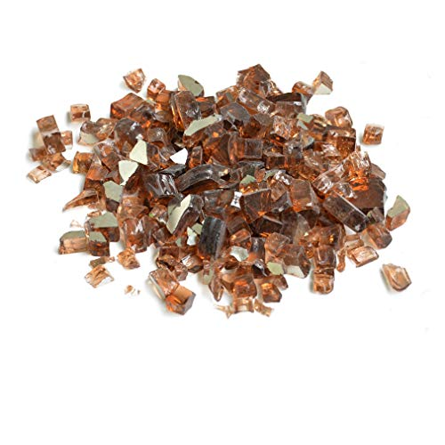Copper Square Fireplace - Skyflame High Luster 10-Pound Fire Glass for Fire Pit Fireplace Landscaping, 1/2-Inch Copper Reflective