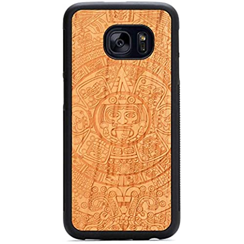 Carved Aztec Calendar Engraved Cherry Samsung Galaxy S7 edge Traveler Wood Case - Black Protective Bumper with Sales