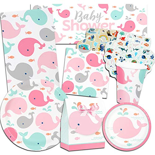- Lil Spout Whale Pink Baby Shower Supplies Ultimate Set ~ Baby Shower Decorations, Party Favors, Plates, Cups, Napkins and More (Lil Spout Whale Baby Shower Supplies)