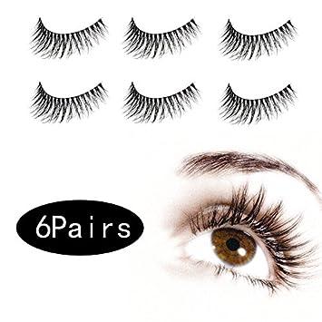 4c0f2108126 Amazon.com : 6 Pair 3D False Eyelashes Make Up Natural Long Fake Eyelashes  With Give-away Eyeliner Stickers Eyeshadow Tattoo : Beauty