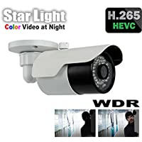 HDView H.265 StarLight WDR HD 5MP Megapixel IP Network Camera PoE, Audio In/Out, Alarm In/Out, MicroSD Memory, IR Infrared Bullet ONVIF