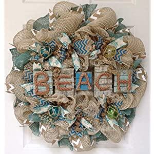 Weathered Driftwood Beach Wreath with Nautical Balls Handmade Deco Mesh 81