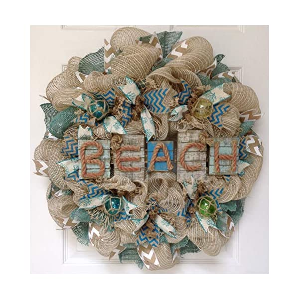 Weathered Driftwood Beach Wreath with Nautical Balls Handmade Deco Mesh