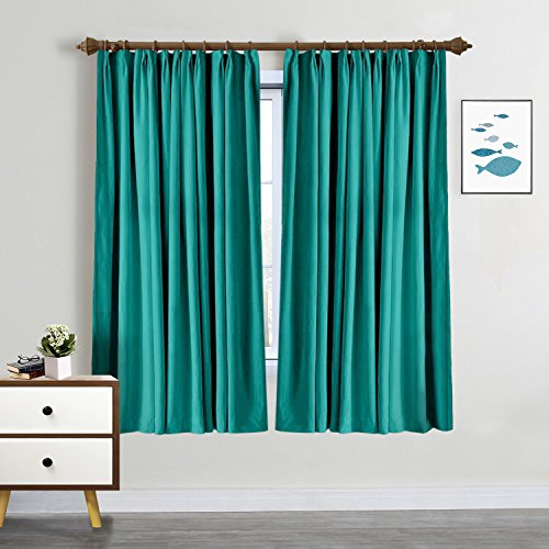 SeeSaw Home Room Darkening Solid Thermal Insulated Pinch Pleat Window Panel Door Curtains/Draperies for Patio,Restaurant,Hotel,84W By 96L Inch,1 Panel,Turquoise