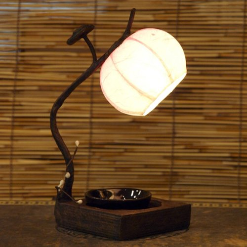 Mulberry Rice Paper Ball Handmade Flower Bud Design Art Shade Pink Round Globe Lantern Brown Asian Oriental Decorative Bedside Accent Home Decor Bedroom Mini Table Desk Lamp