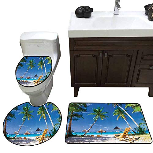3 Piece Extended Bath mat Set Seaside Decor Collection Sunbed Under Palm Trees Tropical Oceanside in Boracay Island Picture Customized Rug Set Green Blue -