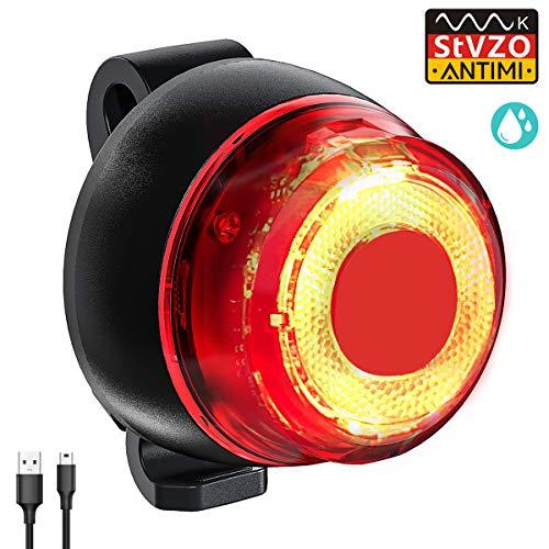 Antimi 【Neueste Modell】 Fahrrad Rücklicht,StVZO Zugelassen USB Wiederaufladbar Fahrradrücklicht, LED Fahrrad Rückleuchten mit IPX4 Wasserdicht, 220 Grad Weitwinkelsicht Fahrradrückleuchte