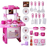 AutoLover Kids Kitchen Toy, Kitchen Playset Simulation Kitchen Cookware Pretend Role Play Toy with Music Light(Pink)