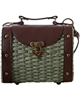 Tonwhar Baroque Style Retro Rivet Portable Small Box Woven Shoulder Messenger Bag