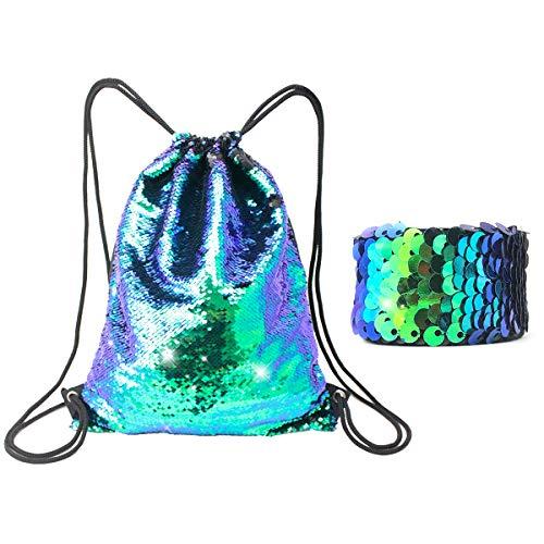 Mermaid Sequin Glitter Drawstring Bag GreenLiiver Shiny Bling Flip Sequin Backpack for girls Reversible Sequin Travel Sports Bag (Green)