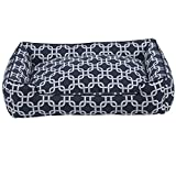 Jax and Bones 32 x 27 x 10'' Standard Everyday Cotton Lounge Dog Bed, Medium, Marine