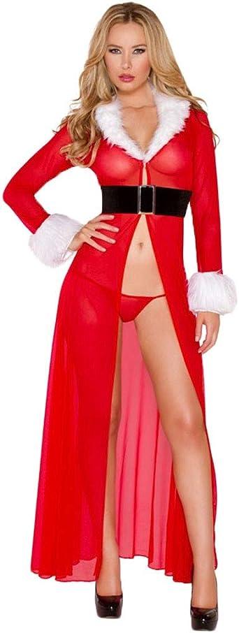 Damski seksowny długi rękaw Boże Narodzenie festiwal Robe Dessous kurtka z dzianiny szlafrok kąpielowy pasek YunYoud Boże Narodzenie Mesh kurtka z dzianiny szlafrok kąpielowy: Odzież