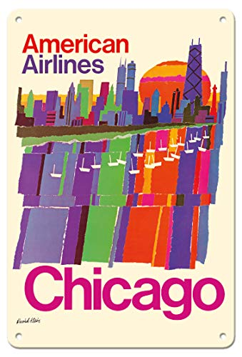 Pacifica Island Art 8in x 12in Vintage Tin Sign - Chicago - American Airlines by David Klein