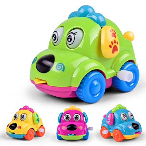 Catnew Cute Cartoon Running Car Wind Up Toy Clockwork Classic Baby Toddler Kids Toy - Random Color