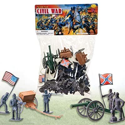 50 PC Deluxe Civil WAR Toy Soldiers Play Set - The Union v. Confederate Armies - Soldiers - Cannons - Flags & More Factory Sealed: Toys & Games