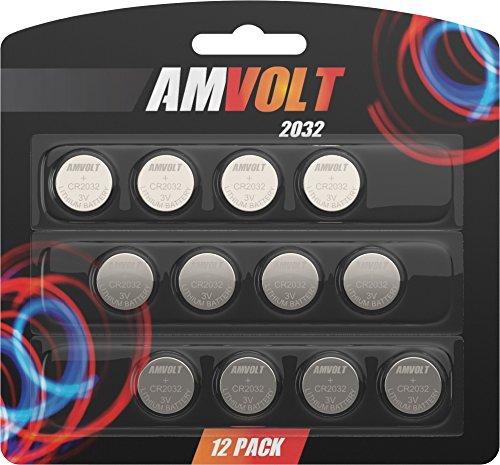 12 Pack AmVolt CR2032 Battery 220mAh 3 Volt Lithium Battery Coin Button Cell 2023 Expiry Date