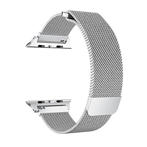 OROBAY For Watch Band 42mm, Stainless Steel Mesh Loop with Adjustable Magnetic Closure Replacement iWatch Band for Watch Series 3 Series 2 Series 1,Silver