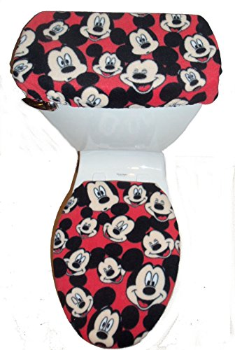 Red Fleece Toilet Seat Cover Set - Toilet Seat Covers Sets