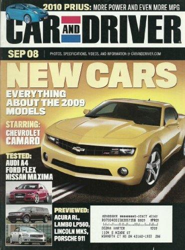 Car and Driver Magazine September 2008 2010 Prius Chevrolet Camaro