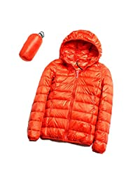 Women's Lightweight Packable Down Jacket, S.Charma Oversize Short Prymo Coat Hooded