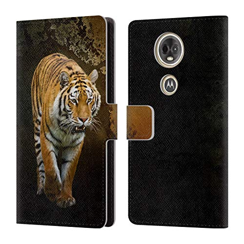 (Official Simone Gatterwe Siberian Tiger Animals Leather Book Wallet Case Cover for Motorola Moto E5 Plus )