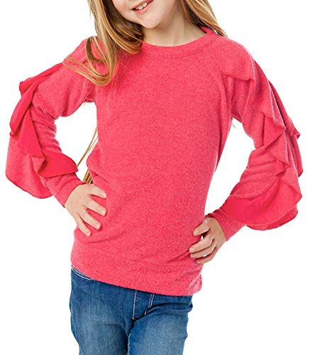 (Blibea Girls Big Girls Fashion Tops Casual Ruffled Long Sleeve Knit PulloverTops Shirts Blouse Size 12 13 Rose Red)