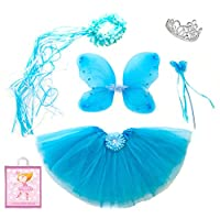 Lilly and the Bee Novelties Sparkle Fairy Princess Costume Set wih Gift Bag - Turquoise, (5-Piece)