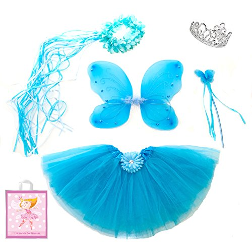 Fairy Dress Up Tutu Costumes (Lilly and the Bee Novelties Sparkle Fairy Princess Costume Set wih Gift Bag - Turquoise, (5-Piece))