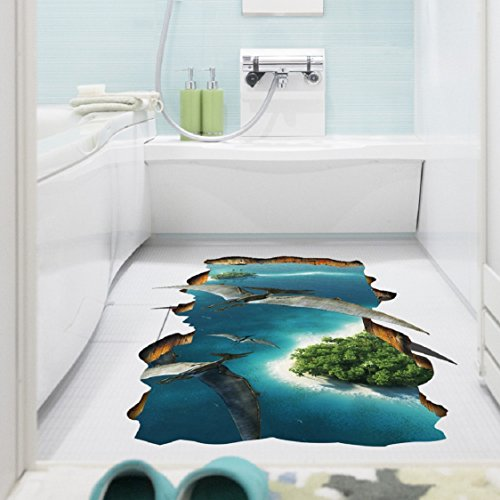 Ikevan Hot Selling 3D Pterosaurs Floor/Wall Sticker Removable Mural Decals Wall Decals Sticker Home Vinyl Living Room Decor 60x90cm]()