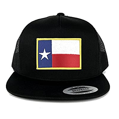 FLEXFIT 5 Panel Texas State Flag Embroidered Iron on Patch Snapback Mesh Back Cap