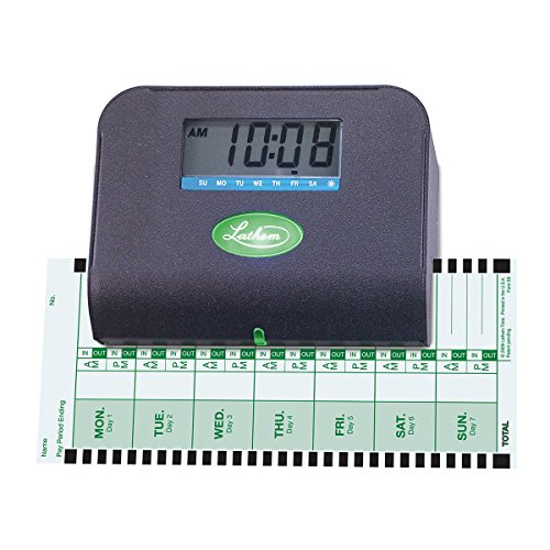 092447001900 - Lathem Tru-Align Thermal Print Time Clock, Automatic, Includes 25 E8 Time Cards, Gray (800P) carousel main 2