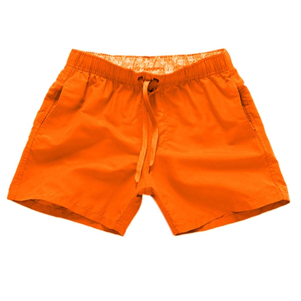 NUWFOR Men Pure Color Splice Stripe Beach Work Casual Men Short Trouser Shorts Pants(Orange,US L Waist:31.50-39.37'')