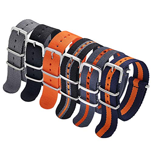 (Carty NATO Watch Straps 18mm 6 Pack Nylon Watch Bands(Grey Black Orange Multi-Color Combinations))