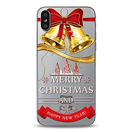 Christmas Funda iPhone X, FindaGift Navidad Series Phone Case Ultra Delgado Suave TPU Resistente a los arañazos del Teléfono Shell para iPhone X (Pattern 1) Pattern 5