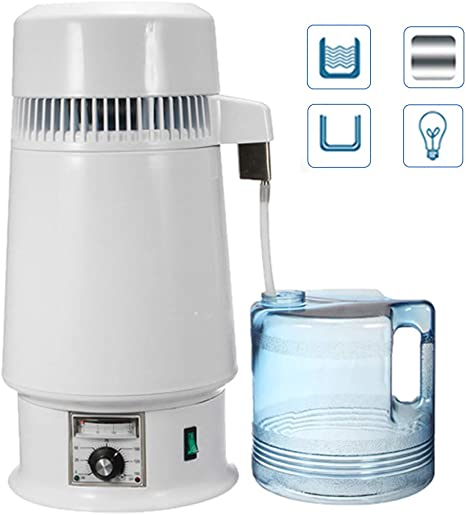 CWWHY Purificador De Agua, Destilador De Agua De Temperatura Ajustable De 750 Vatios 4L, Destilador Interno De Acero ...