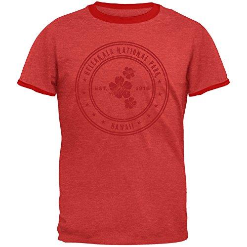 Haleakala National Park Vintage Heather Red Men's Ringer T-Shirt - X-Large -