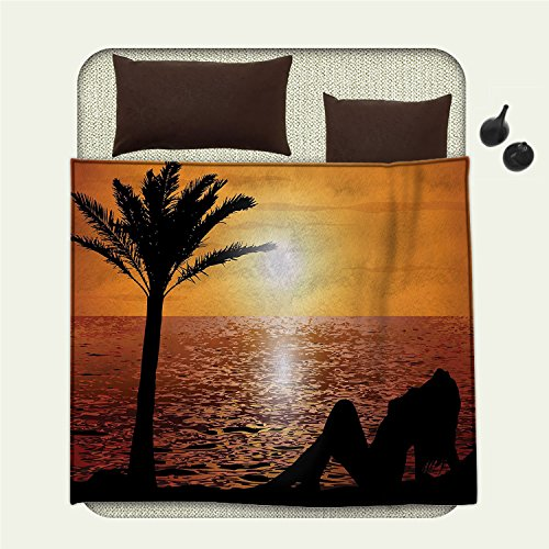 smallbeefly Girls summer blanket Silhouette of Lady and Palm Tree on Tropical Beach at Sunset Horizon Scenery PrintFlannel Black - Palm Sectional Beach