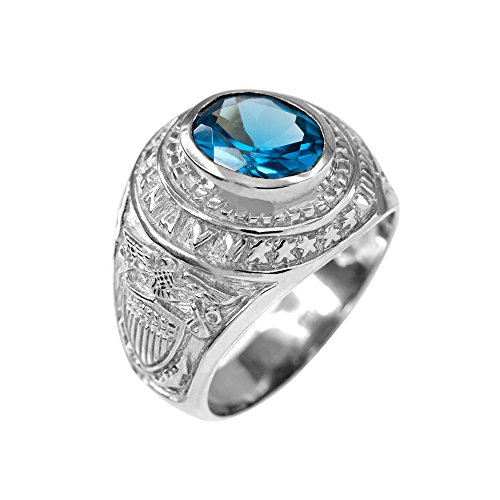 (December CZ Birthstone US Navy Men's Ring in Solid 925 Sterling Silver (Size 14.25) )