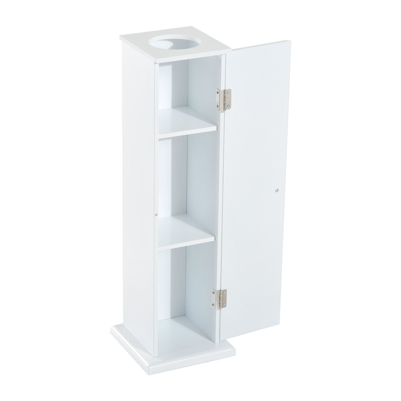 "HOMCOM 26"" Modern Country Vertical Toilet Paper Bathroom Storage Cupboard Cabinet - White"