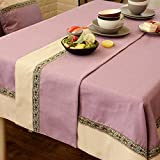 Two - Color Table Flag Cloth Imitation Ma Stitching Table Flag Tea Table Cloth Tv Cabinet Cover Towel Bed Towel Bed Flag,Lavender,30Cm×180Cm