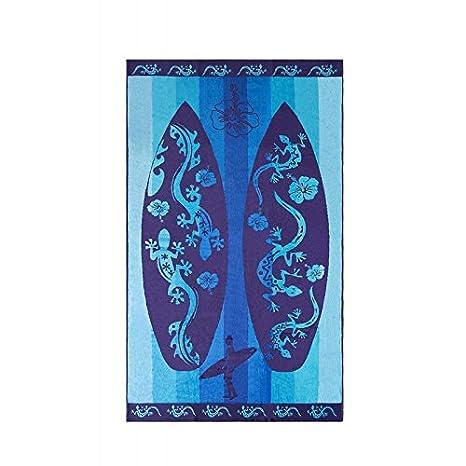 Set TOALLA PLAYA GRANDE tablas surf azul 100% ALGODÓN EGIPCIO MOD: (405 A) 90X170CM y PACK CALCETINES MARCA TIENDADELEGGINGS tobilleros anti-presion: ...