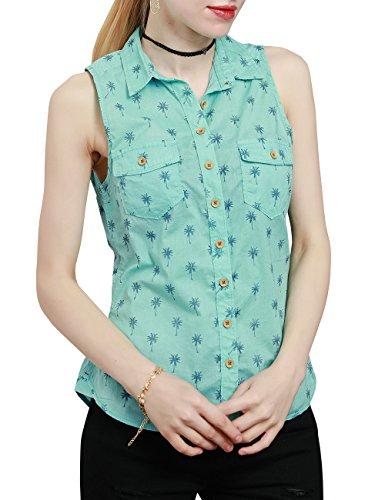 Margin Point Version Women Sleeveless Print Button Down Shirt Casual Cotton Shirt Top with (Womens Point)