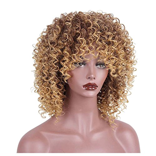 Inkach Short Curly Wigs, Black Women Blonde & Brown Afro Wigs Synthetic Hair Wig (Yellow) for $<!--$18.69-->