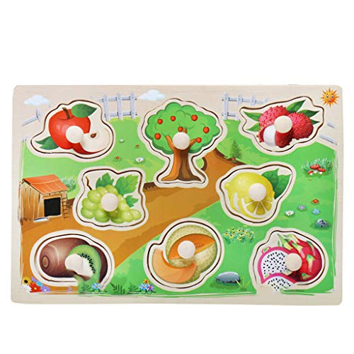 Nivalkid Children's Puzzle Grasp Board Jigsaw Puzzle Educational Toy Environmentally Friendly Wooden Cartoon Animal Letters Children Early Education Puzzle Cognitive Puzzle (K) -